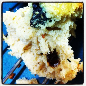 Close shot of crumbly muffin.