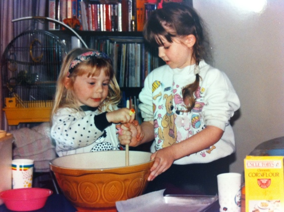 Little sis and me in the kitchen