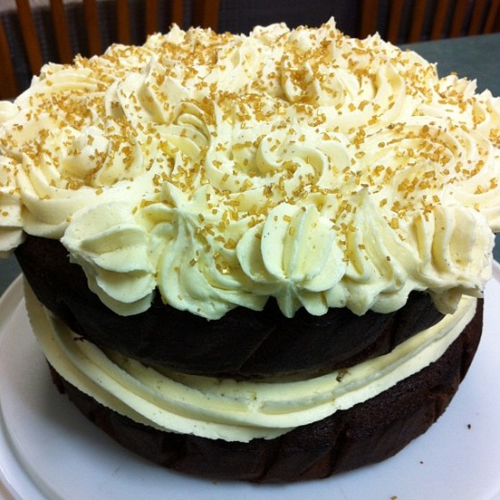 Stout and Chocolate Cake with Vanilla Buttercream