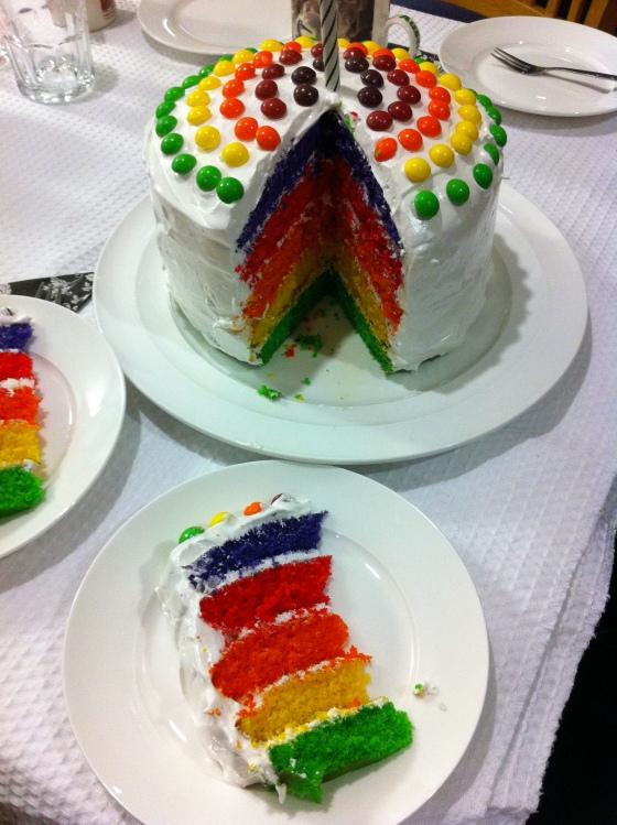 The grande finale - Skittles Birthday cake! Taste the rainbow.