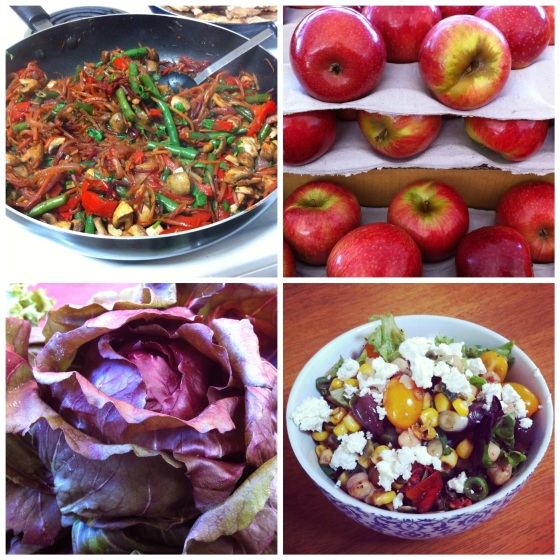 Food of the week (L-R) Stir-fry dinner, Sundowner apples at the markets, beautiful purple leaves, weekend market-fresh lunch.