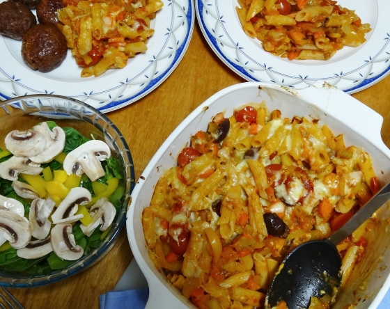 Garden Vegetable and Olive Pasta Bake