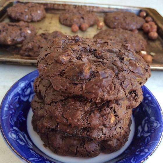Espresso Hazelnut Flourless Chocolate Cookies