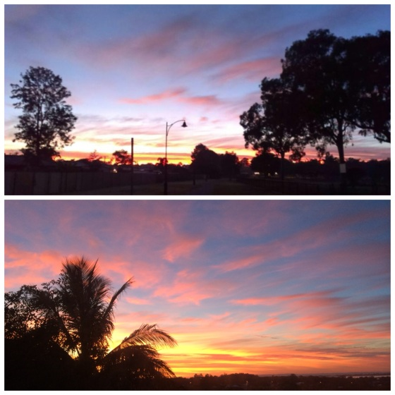 Mum's view (top) and my view (bottom) of the same sunrise.