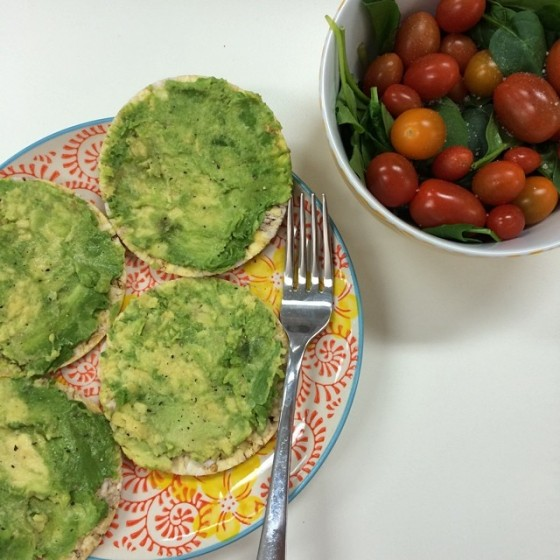 Avocado thins with salad