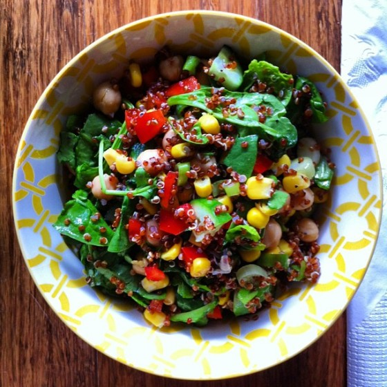 Quinoa, chickpea and corn salad