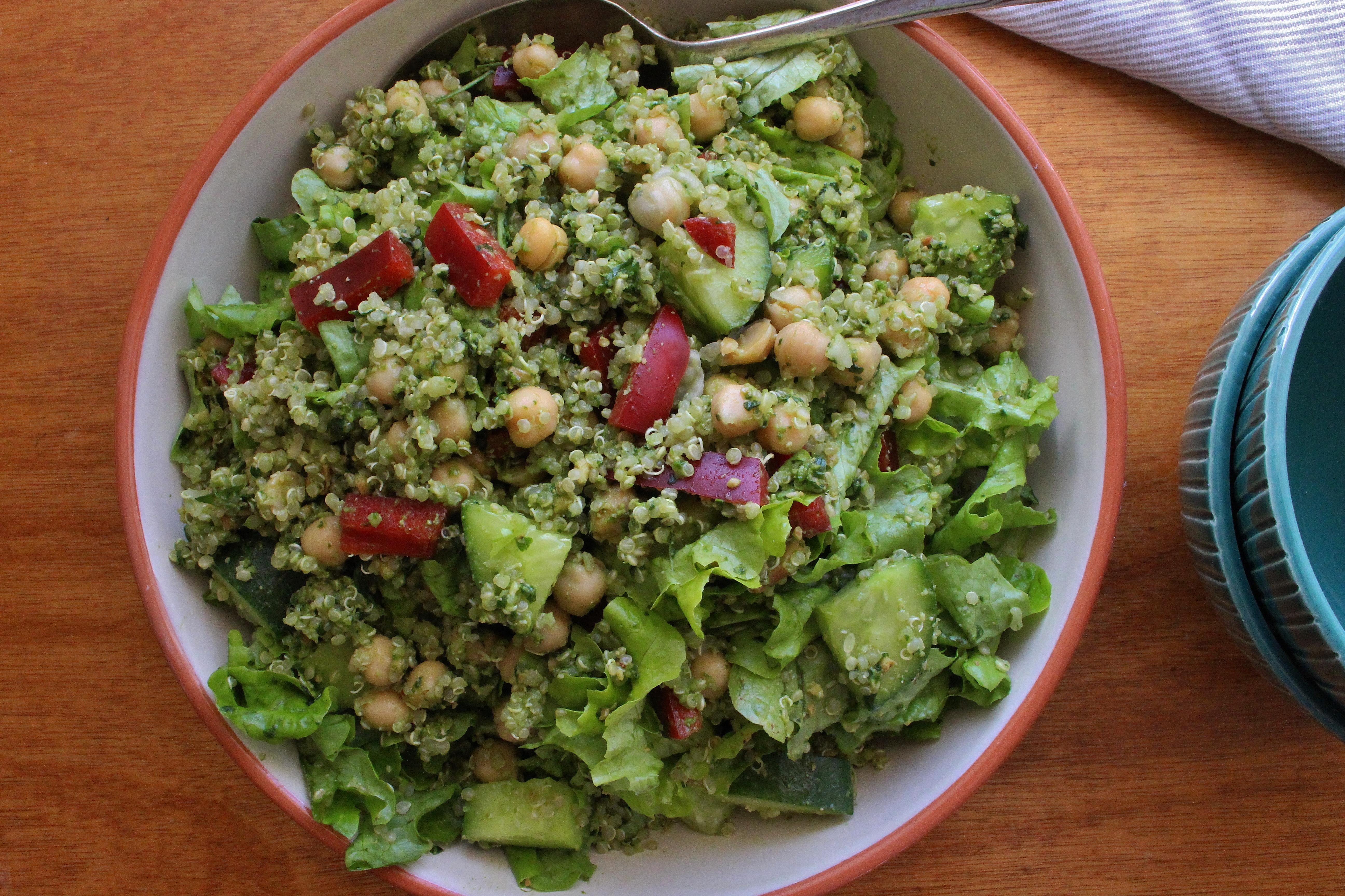 Coriander Cashew Pesto Quinoa Salad (gluten free, vegan