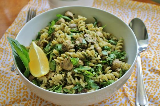 Mushroom and Basil-Walnut Pesto Pasta Salad | Vegetarian | Gluten Free | Thoroughly Nourished Life