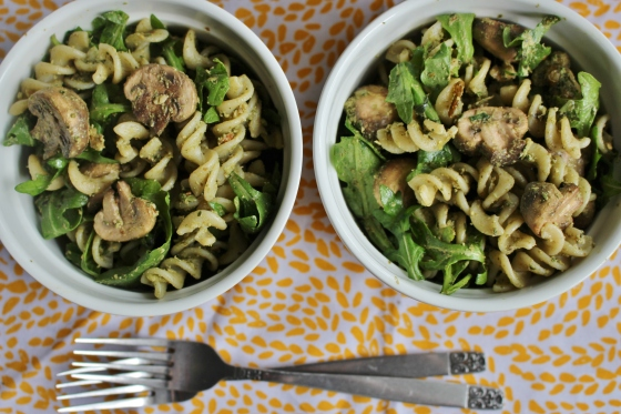 Mushroom and Basil-Walnut Pesto Pasta Salad | Vegetarian | Gluten Free | Thoroughly Nourished Life