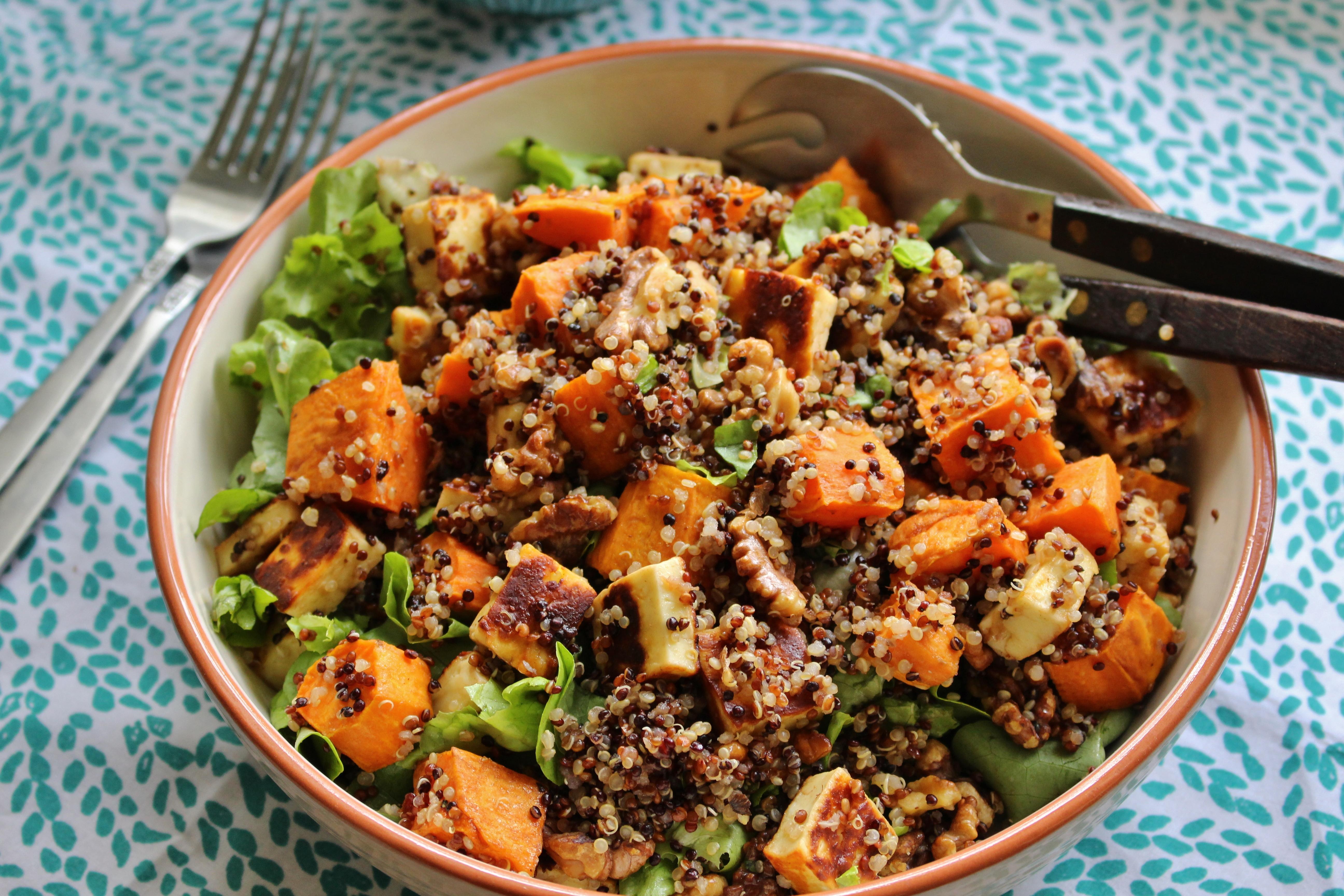 Sweet Potato, Haloumi, and Quinoa Salad | Vegetarian | Gluten Free ...