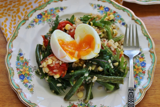 Summer Vegetable and Brown Rice Salad with Soft-Boiled Eggs | Vegetarian | Gluten Free | Thoroughly Nourished Life