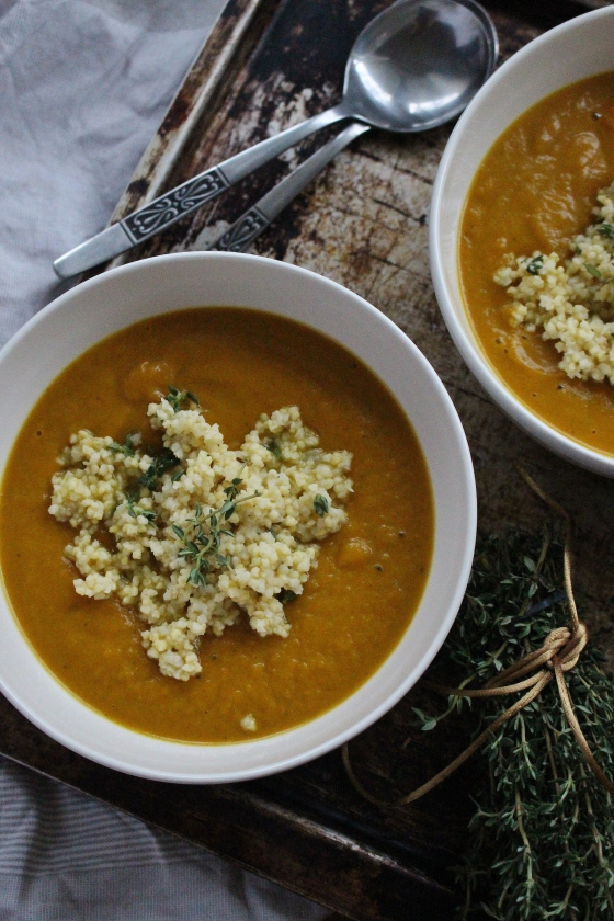 Curried Pumpkin Soup with Garlic Thyme Millet | Vegan | Gluten Free | Thoroughly Nourished Life