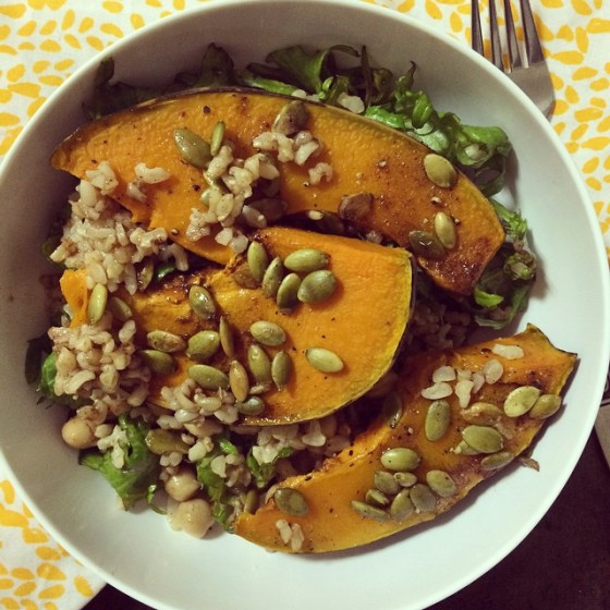 pumpkin and brown rice bowl