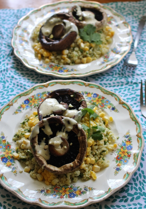 Roasted Mushrooms with Coriander Millet and Lemon-Tahini Sauce | Gluten Free | Vegan | Thoroughly Nourished Life
