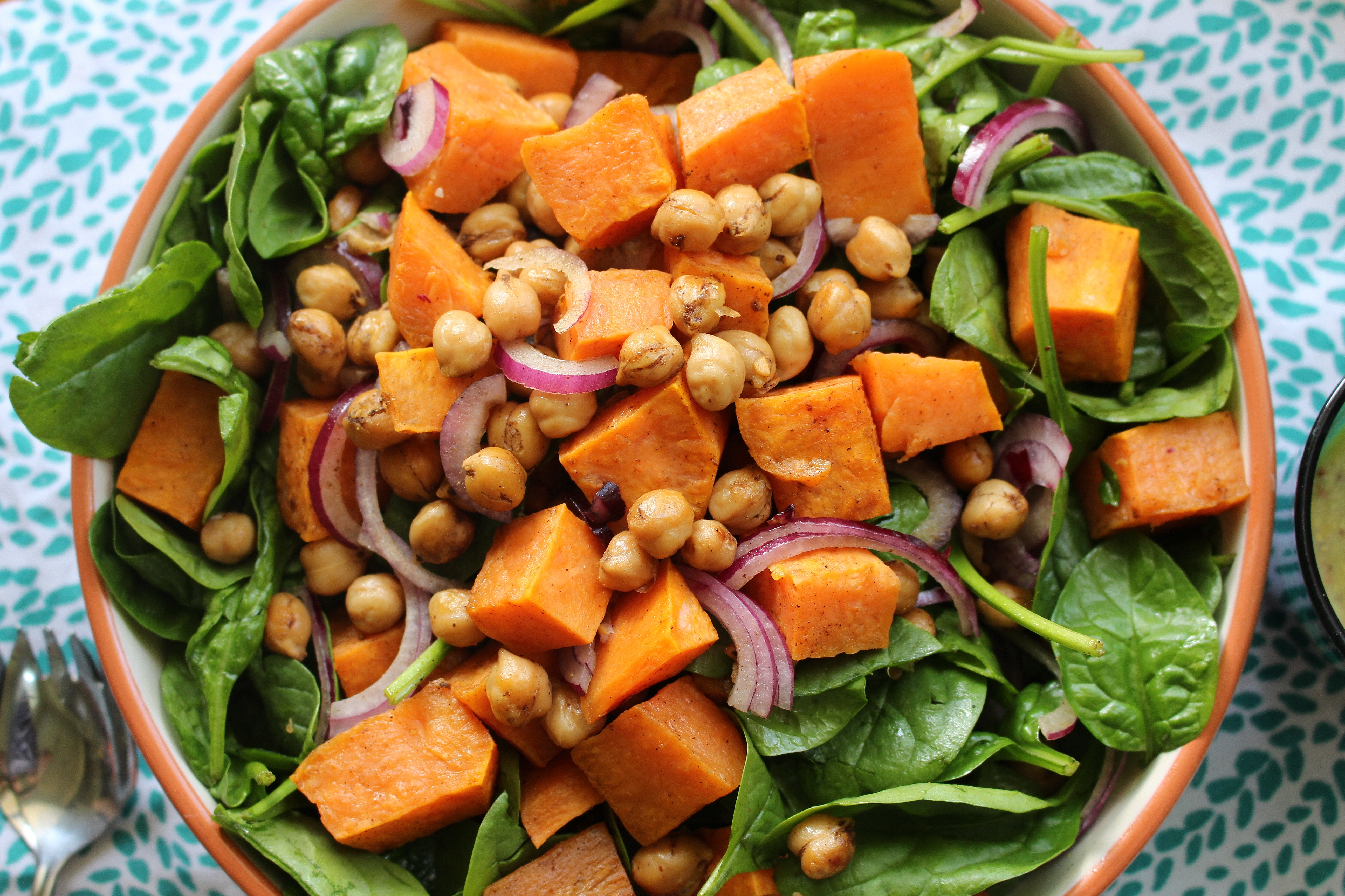 Roasted Sweet Potato and Spiced Chickpea Salad with Honey-Mustard ...