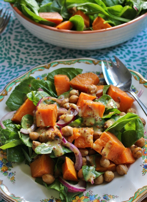 Roasted Sweet Potato and Spiced Chickpea Salad with Honey-Mustard Dressing | Vegetarian | Gluten Free | Thoroughly Nourished Life