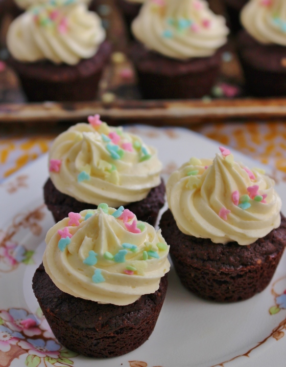 Brownie Bites with White Chocolate Buttercream | Gluten Free | Thoroughly Nourished Life