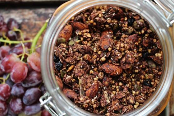 Crispy Buckwheat, Cocoa, and Blueberry Granola | Gluten Free | Thoroughly Nourished Life