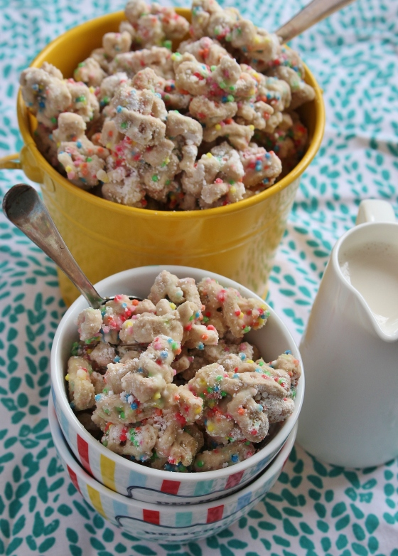 Cake Batter Puppy Chow | Gluten Free | Thoroughly Nourished Life