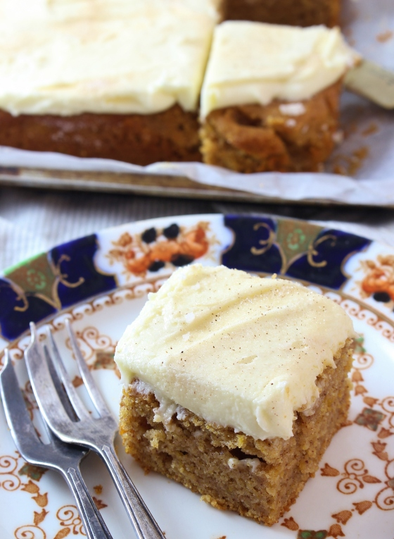 Spiced Pumpkin Snack Cake with Cream Cheese Frosting | Gluten Free | Thoroughly Nourished Life