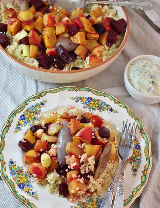 Roasted Root Vegetables with Millet and Roasted Garlic Marjoram Dressing | Vegetarian | Gluten Free | Thoroughly Nourished Life