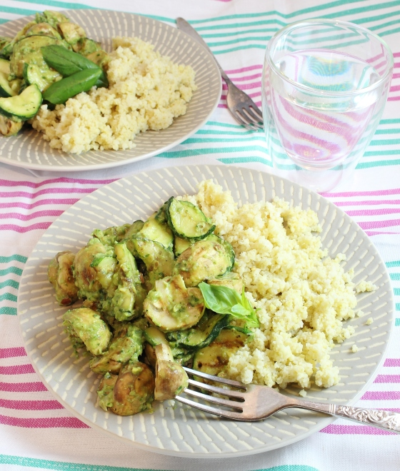 Grilled Mushrooms and Zucchini with Avocado Basil Pesto and Millet | Vegetarian | Gluten Free | Thoroughly Nourished Life | thoroughlynourishedlife.com