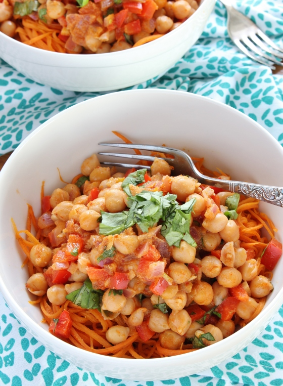 Red Curry Coconut Chickpeas with Sweet Potato Noodles | Gluten Free | Vegan | Thoroughly Nourished Life