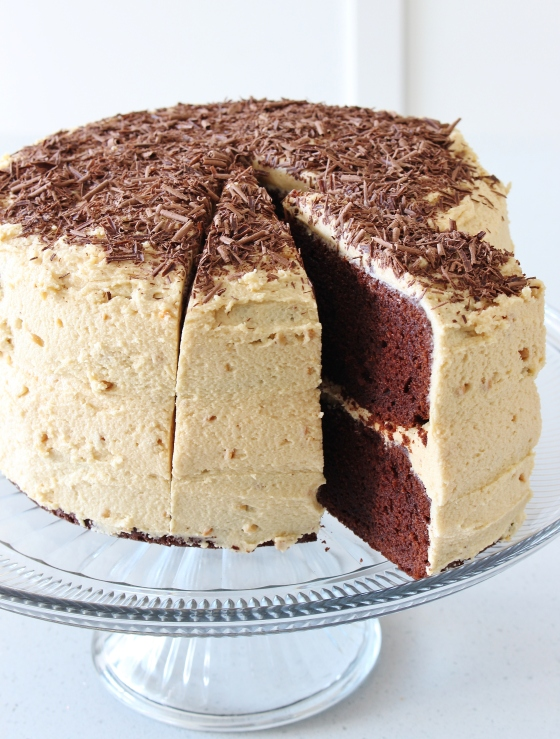 Chocolate Layer Cake with Peanut Butter Frosting | Gluten Free | Thoroughly Nourished Life