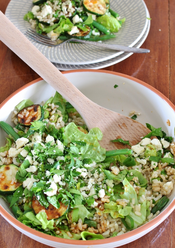 Grilled Zucchini and Green Bean Brown Rice Salad with Harissa-Honey Dressing | Gluten Free | Vegetarian | Thoroughly Nourished Life