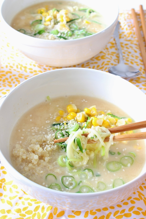 Tahini Miso Zucchini Noodle Soup | Gluten Free | Vegan | Thoroughly Nourished Life