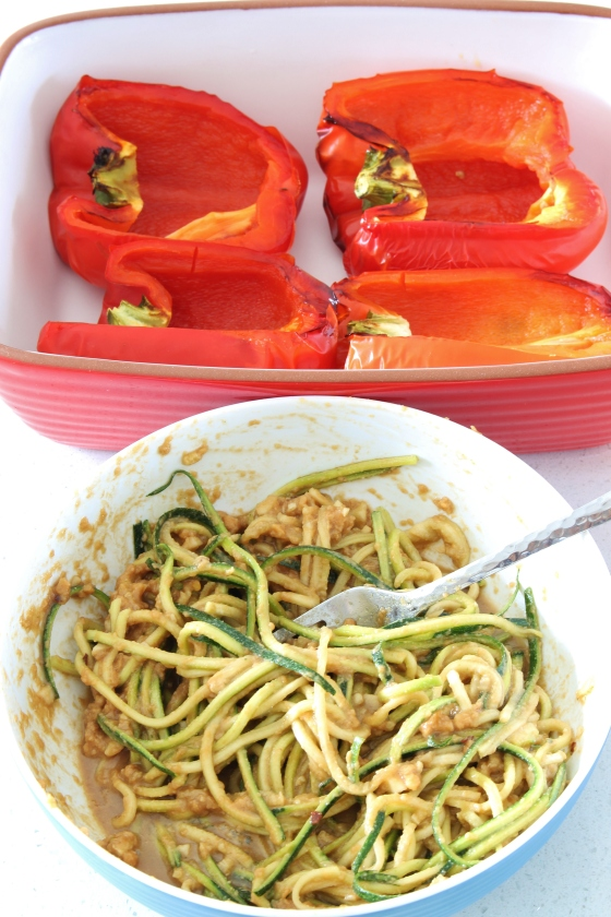 Peanut Zucchini Noodle Stuffed Roasted Capsicums | Gluten Free | Vegan | Thoroughly Nourished Life