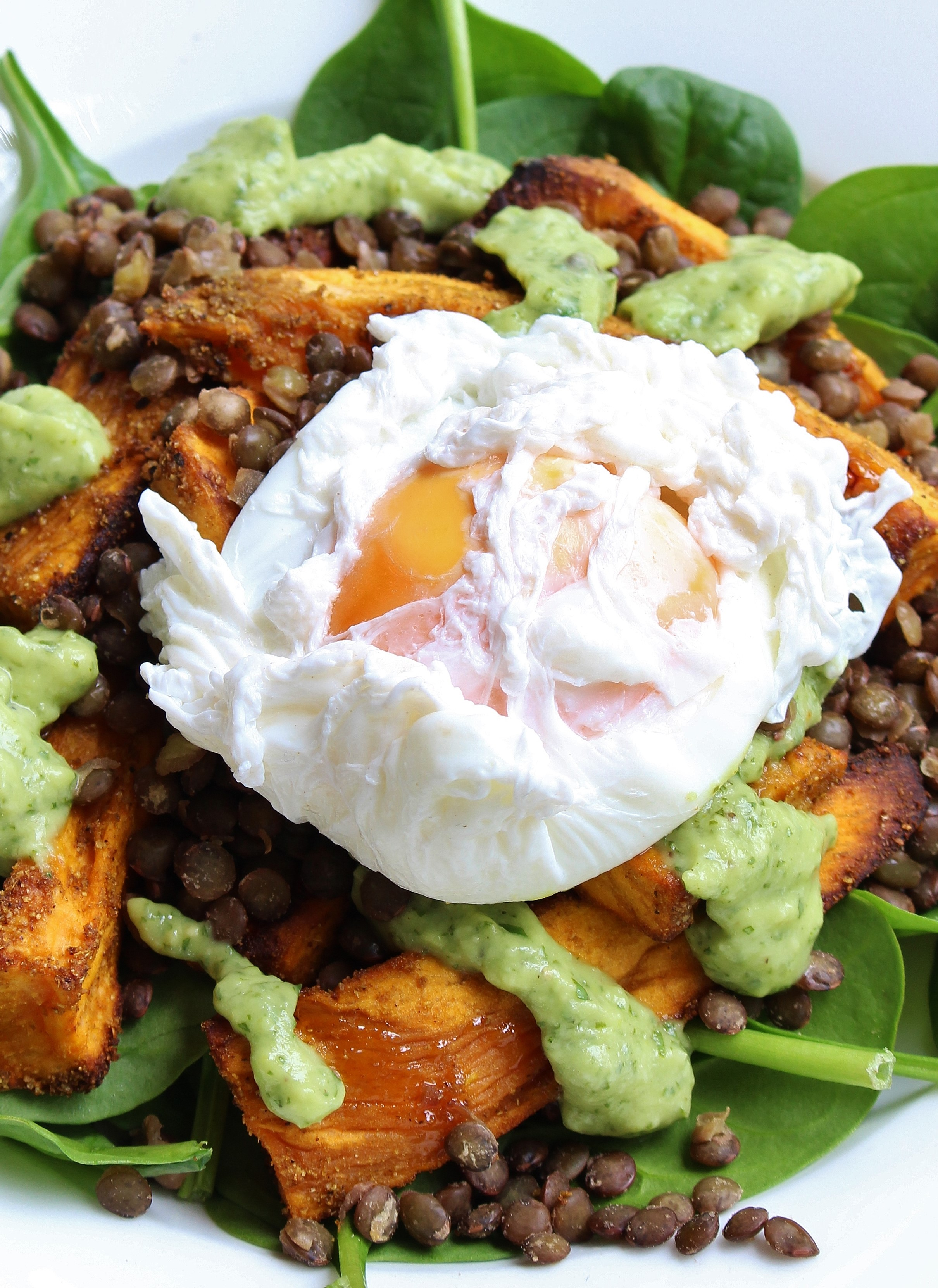 Roasted Sweet Potato, Lentil and Poached Egg Bowls with Avocado-Lime ...